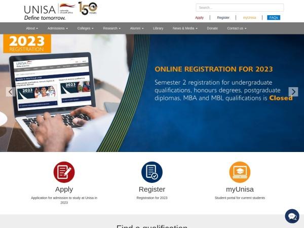 Screenshot of www.unisa.ac.za