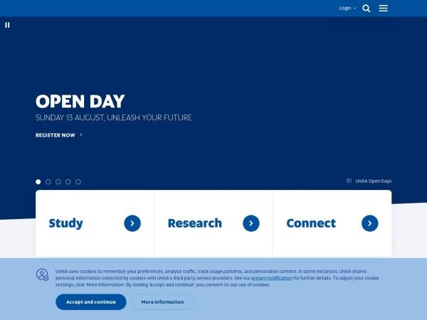 Screenshot of www.unisa.edu.au
