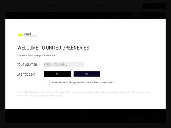 Screenshot of www.unitedgreeneries.ca