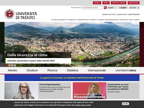 Screenshot of www.unitn.it