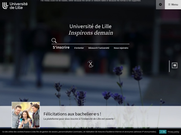 Screenshot of www.univ-lille.fr