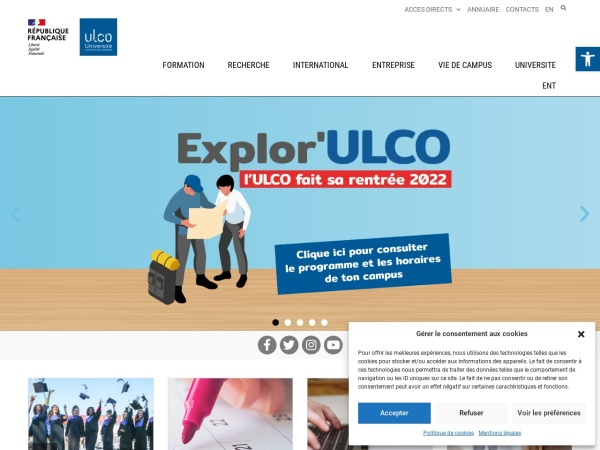 Screenshot of www.univ-littoral.fr