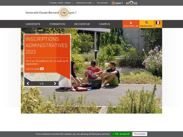 Screenshot of www.univ-lyon1.fr