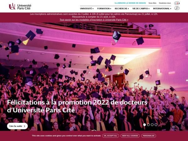Screenshot of www.univ-paris-diderot.fr