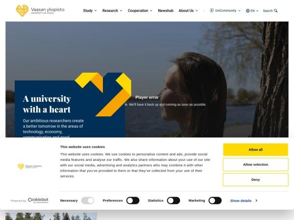 Screenshot of www.univaasa.fi