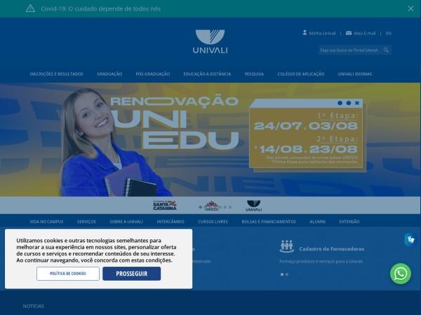 Screenshot of www.univali.br