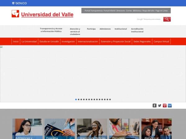 Screenshot of www.univalle.edu.co