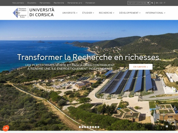 Screenshot of www.universita.corsica