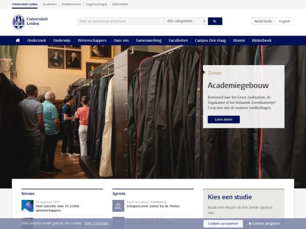 Screenshot of www.universiteitleiden.nl
