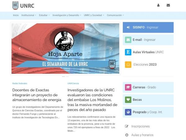 Screenshot of www.unrc.edu.ar