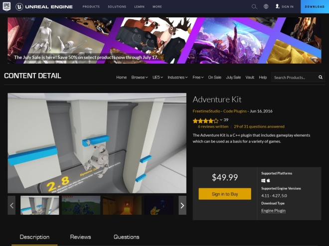 https://www.unrealengine.com/marketplace/adventure-kit
