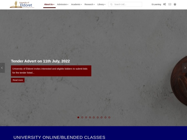 Screenshot of www.uoeld.ac.ke
