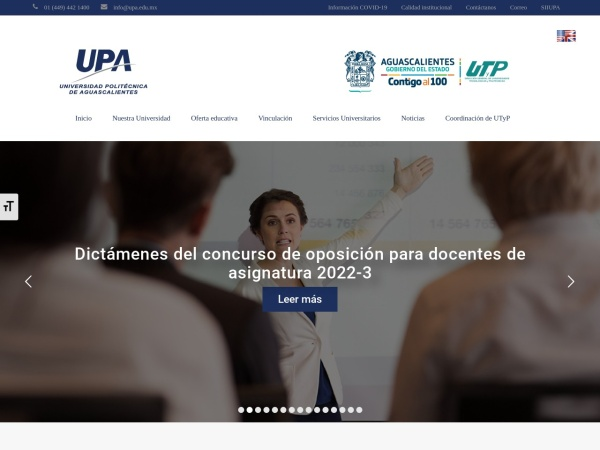 Screenshot of www.upa.edu.mx