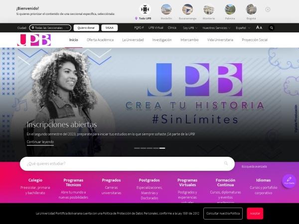 Screenshot of www.upb.edu.co