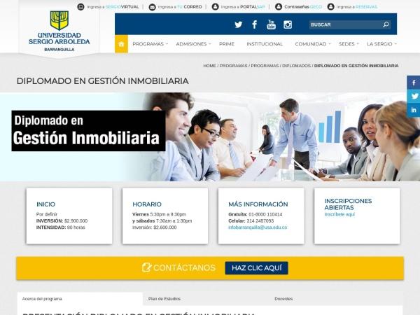 Captura de pantalla de www.usergioarboleda.edu.co