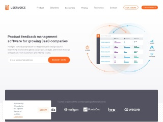 Screenshot of www.uservoice.com
