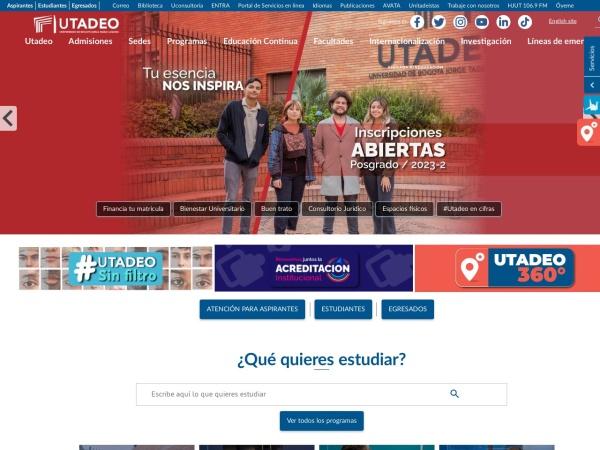 Captura de pantalla de www.utadeo.edu.co
