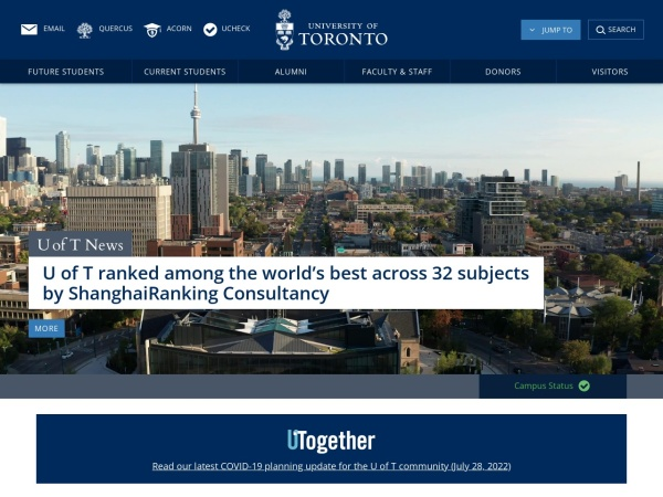 Screenshot of www.utoronto.ca