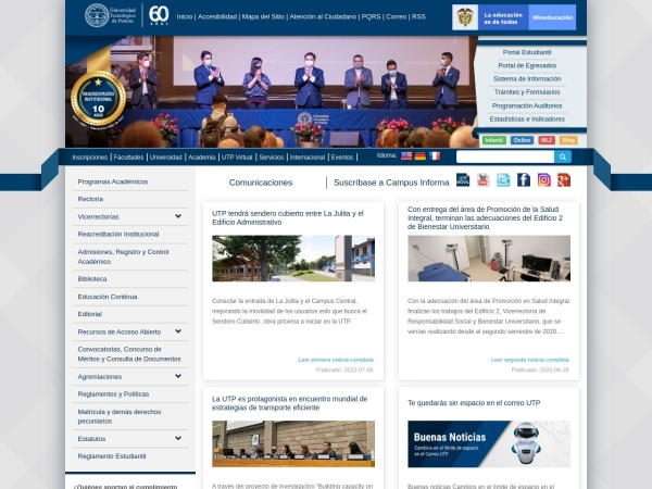 Screenshot of www.utp.edu.co