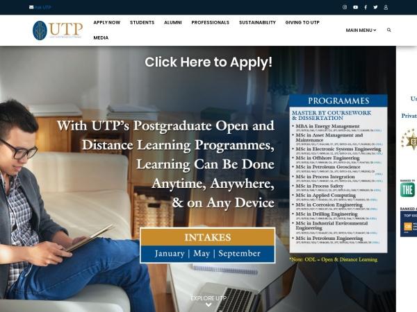 Screenshot of www.utp.edu.my