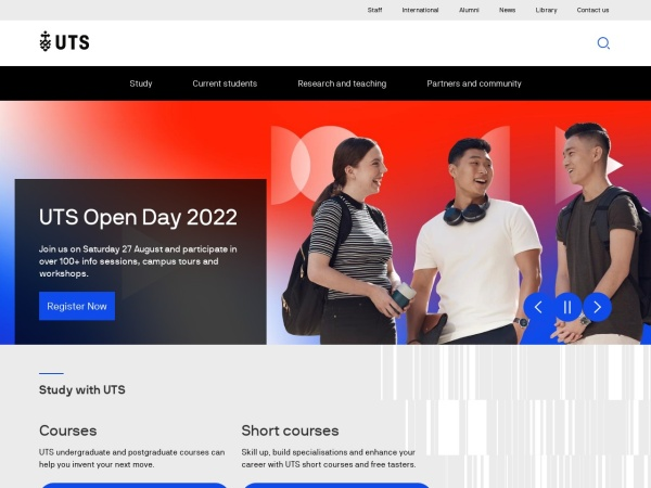 Screenshot of www.uts.edu.au