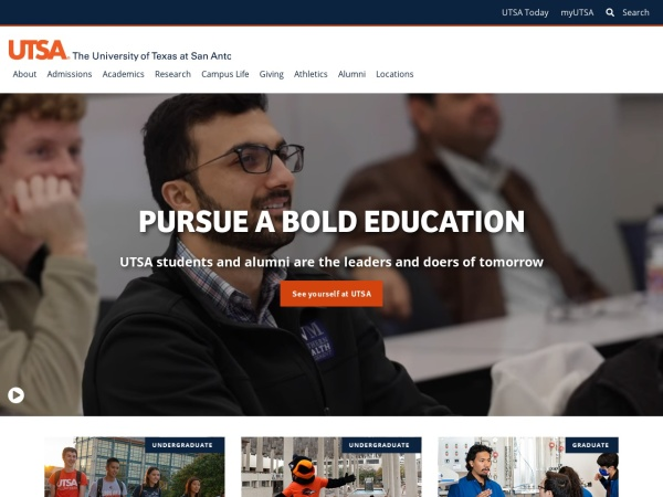 Screenshot of www.utsa.edu