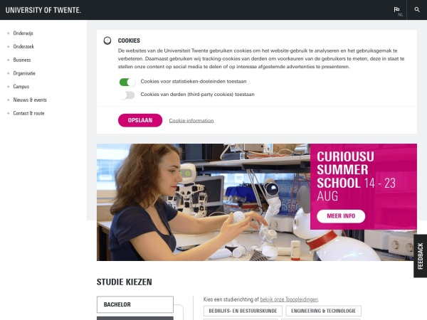 Screenshot of www.utwente.nl