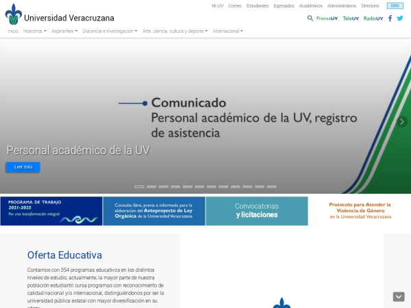 Screenshot of www.uv.mx