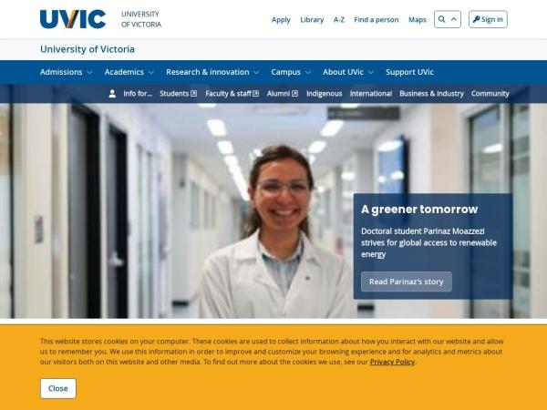 Screenshot of www.uvic.ca