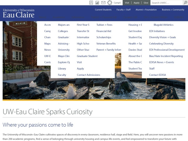 Screenshot of www.uwec.edu