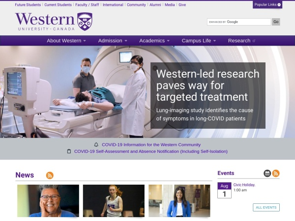 Screenshot of www.uwo.ca