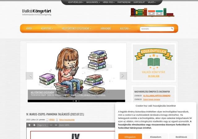 Screenshot of www.valkoi-konyvtar.hu