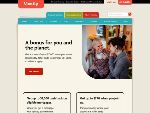 Screenshot of www.vancity.com