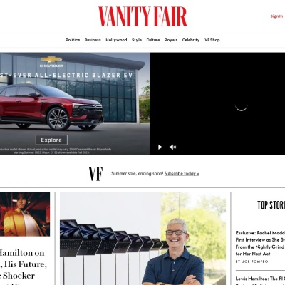 Screenshot of www.vanityfair.com