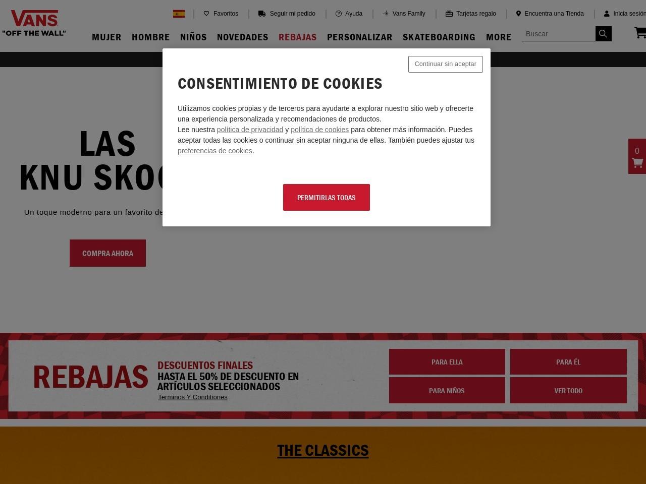 Captura de pantalla de www.vans.es