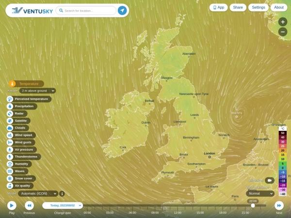 Screenshot of www.ventusky.com