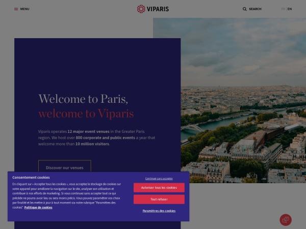 Screenshot of www.viparis.com