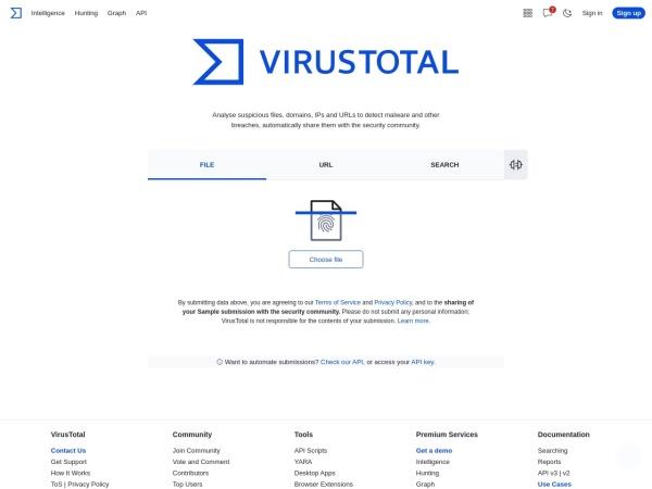 Screenshot of www.virustotal.com
