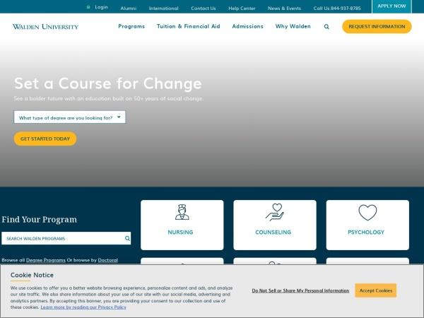 Screenshot of www.waldenu.edu
