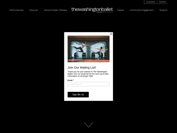 Screenshot of www.washingtonballet.org