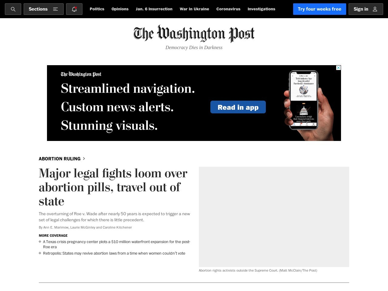 Screenshot of www.washingtonpost.com