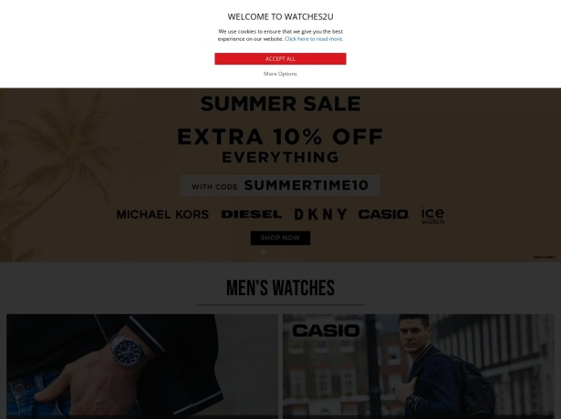 Screenshot of www.watches2u.com