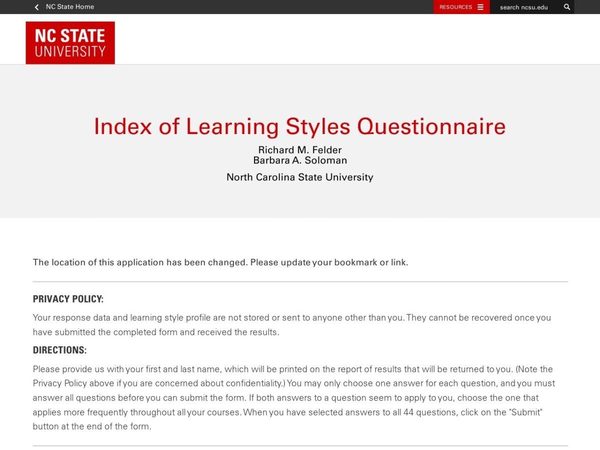 Index of Learning Styles | Allenvision Inc.