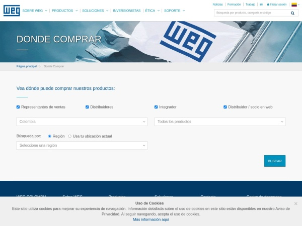 Captura de pantalla de www.weg.net