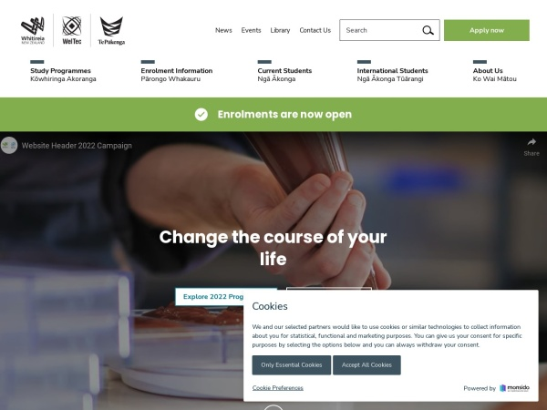 Screenshot of www.weltec.ac.nz