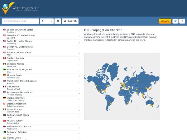 Screenshot of www.whatsmydns.net