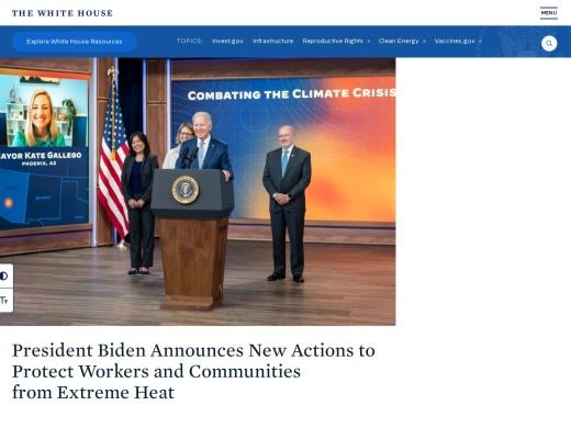 Screenshot of www.whitehouse.gov