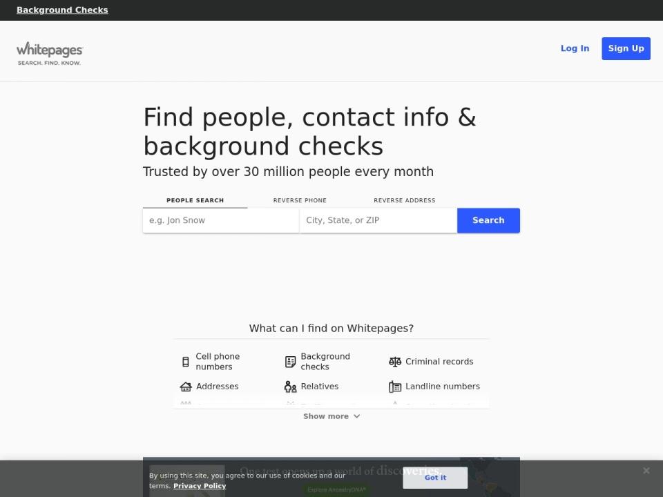 Screenshot of www.whitepages.com