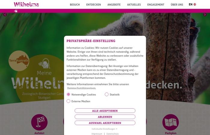 Screenshot von www.wilhelma.de