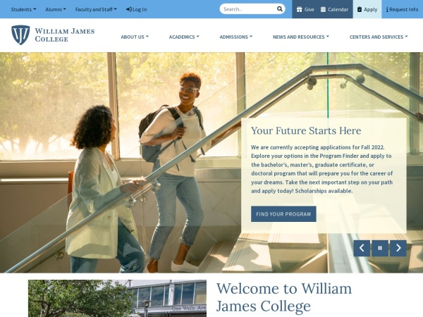 Screenshot of www.williamjames.edu